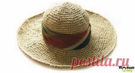 Плотная шляпа крючком из джутового шпагата