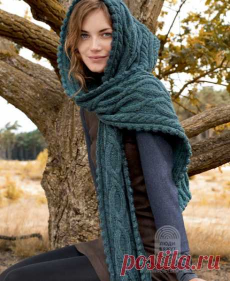 """Scarf hood with a pattern from braids: the scheme of knitting, the detailed instruction, the description on the website \""""People Knit\"""""""