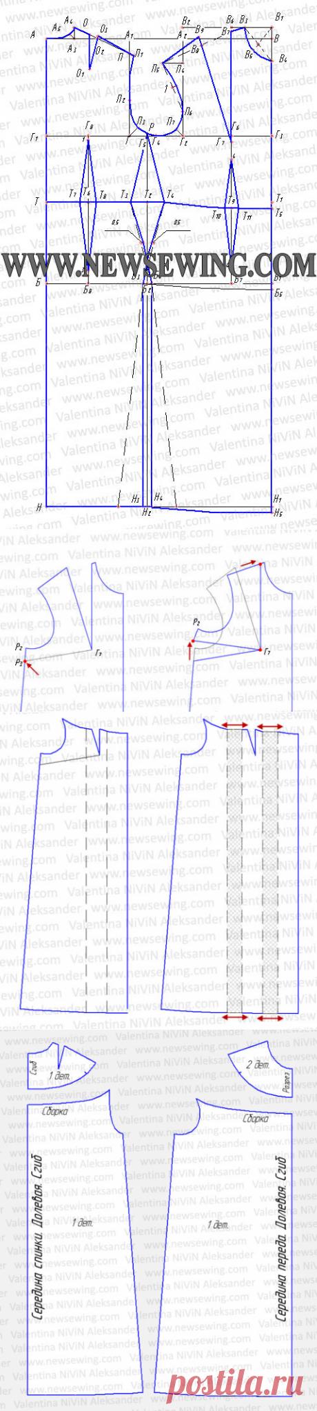La camisa de noche. La construcción del patrón. La instrucción poshagovaya.