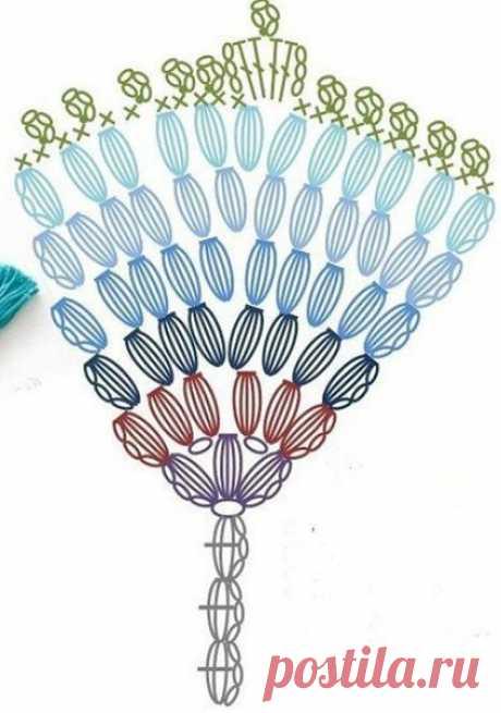 Изысканная закладка для книги, красота в виде павлиньего пера! из категории Интересные идеи – Вязаные идеи, идеи для вязания