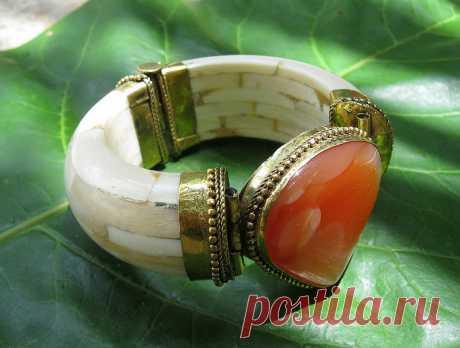 Orange Carnelian Agate Stone African Tribal Ethnic Ox Bone Cuff Bracelet,Kuchi Tribal Ethnic Jewelry,Bohemian,Gypsy,Handmade   Flickr - Photo Sharing!