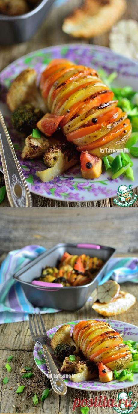 Картофель, запеченный с брокколи и цветной капустой - кулинарный рецепт