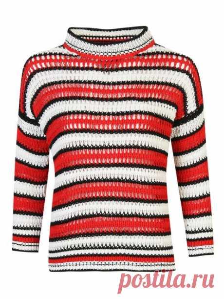 Ermanno Scervino красный джемпер из хлопка в полоску ажурной вязки (481555) купить со скидкой – распродажа в Боско Аутлет