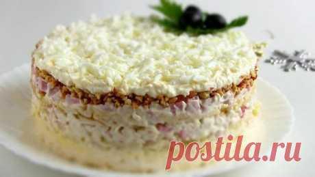 Нежный слоеный салат «Снежная Королева»   Вкусные рецепты
