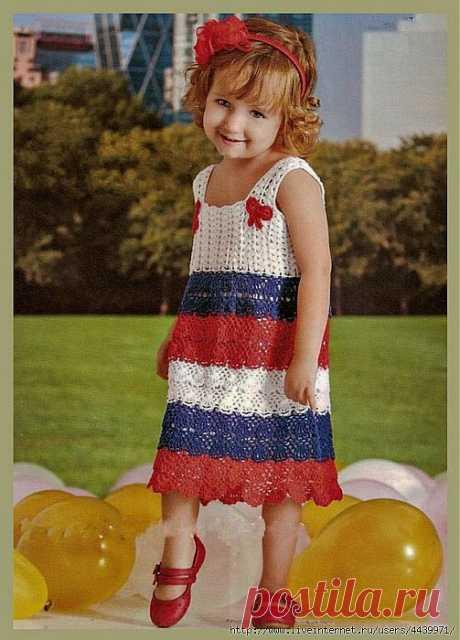 Трёхцветный сарафан для девочки.