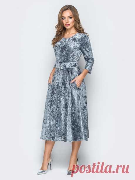Велюровое платье серого цвета с расклешенной юбкой 18318 – купить в Киеве, Украине в розницу | цены интернет-магазина Dressa