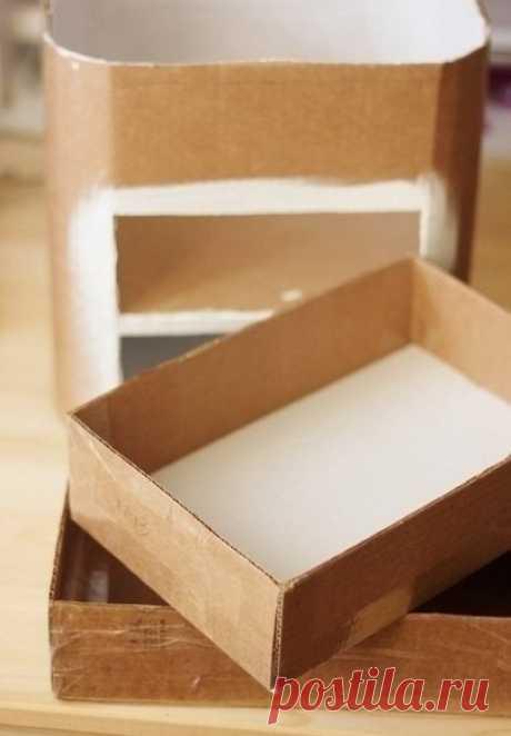 Комодик для рукодельницы из картонных коробок.