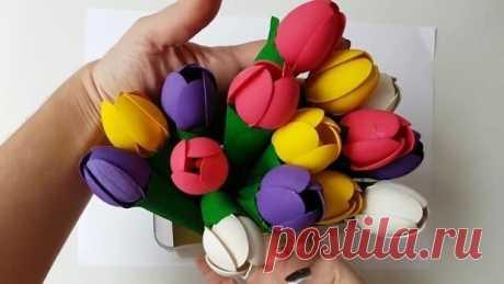 Букет тюльпанов из пластиковых ложек и ватных палочек