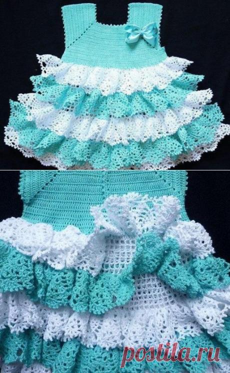 Красивое платье для девочки из категории Интересные идеи – Вязаные идеи, идеи для вязания