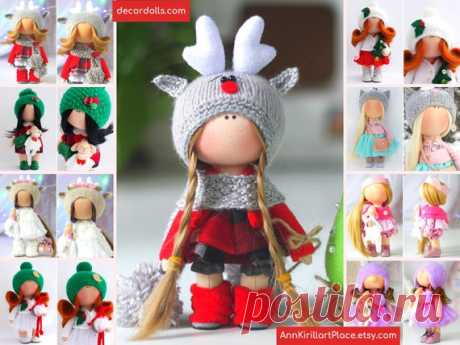 Winter Deer Doll, Christmas Art Baby Doll, Handmade Tilda Doll, Interior Decor Doll, Super Gift Doll, Small Original Soft Doll by Natalia Pe Hello, dear visitors!  This is handmade textile doll created by Master Natalia Pe (Moscow, Russia). Doll is READY for shipment. Order processing time is 1 - 2 calendar days.  All dolls stated on the photo are made by artist Natalia Pe. You can find them in our shop searching by artist name: