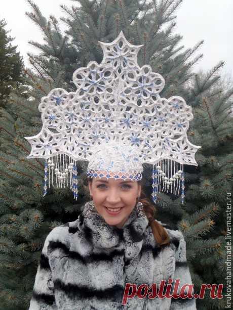 Изготовление ажурного кокошника для снегурочки - Ярмарка Мастеров - ручная работа, handmade