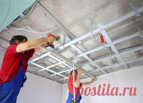 Как сделать подвесной потолок из листов гипсокартона? | Отделка Ремонт Интерьер
