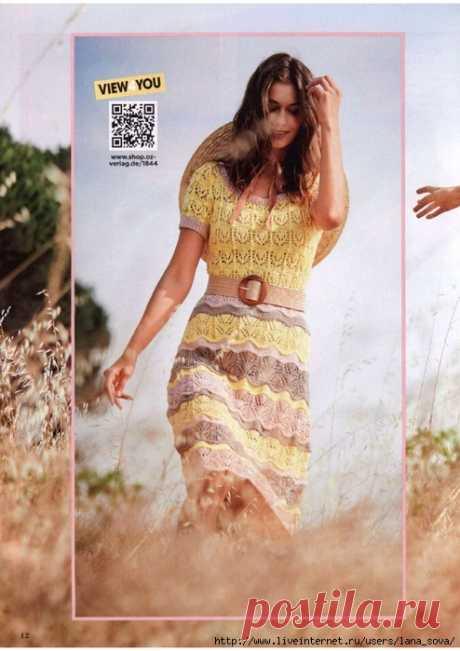 Милое летнее платье спицами