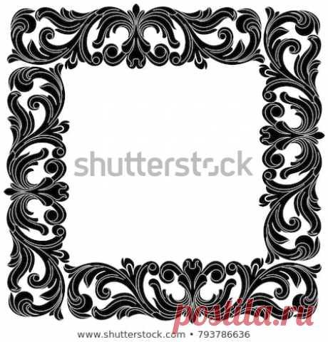 Стоковая векторная графика «Vintage Border Frame Engraving Retro Ornament» (без лицензионных платежей), 793786636: Shutterstock