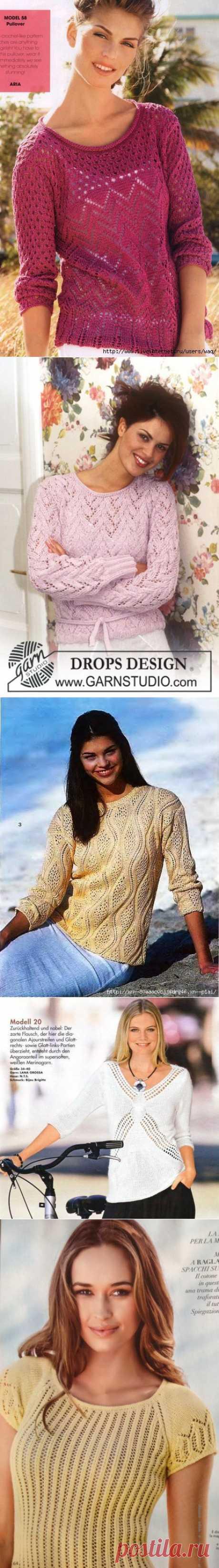 Пуловеры спицами. Подборка 164.