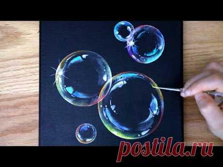 Как рисовать пузыри   Черная картина на холсте   Акриловая картина для начинающих