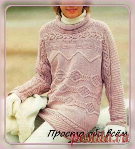 Джемпер пастельного розового цвета с поперечными структурными узорами с описанием вязания и схемами.