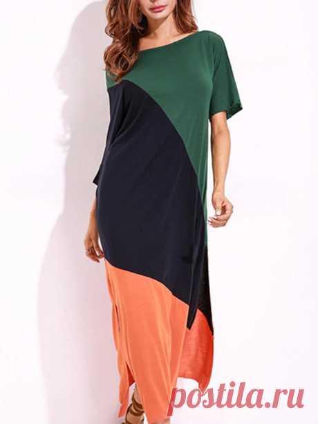 Women Off Shoulder Loose Color Patchwork Side Split Shirt Dress - US$19.99