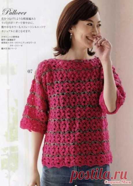 Пуловер крючком эффектным узором