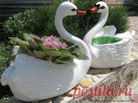 Поделки из пластиковых бутылок — лебеди для сада | Мастер Винтик. Всё своими руками!