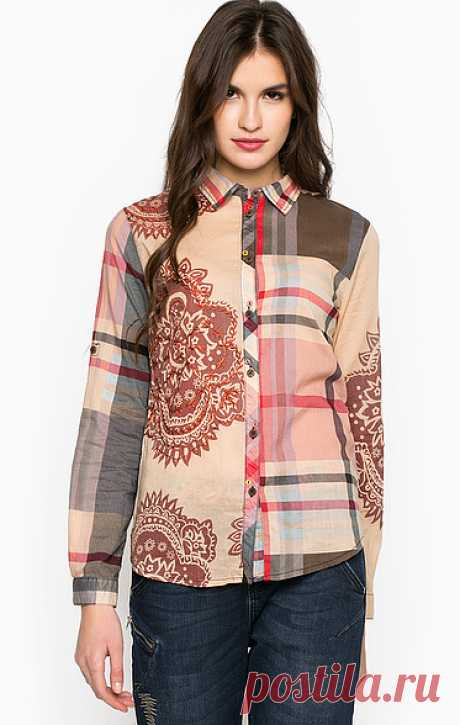 Длинный рукав Desigual 67C22F0/3131 приталенный крой, рубашка застегивается на пуговицы, длина рукавов регулируется хлястиками на пуговицы, купить в интернет-магазине. Цена: 6 890 р.