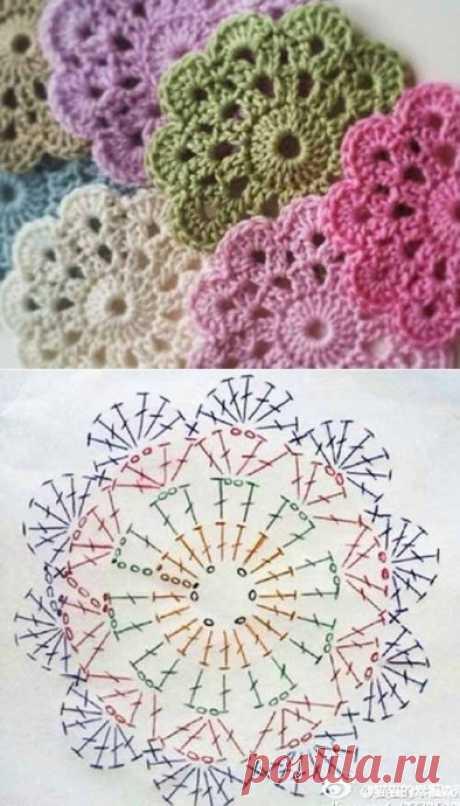 Подборка простых цветочных мотивов для мастериц, вяжущих крючком