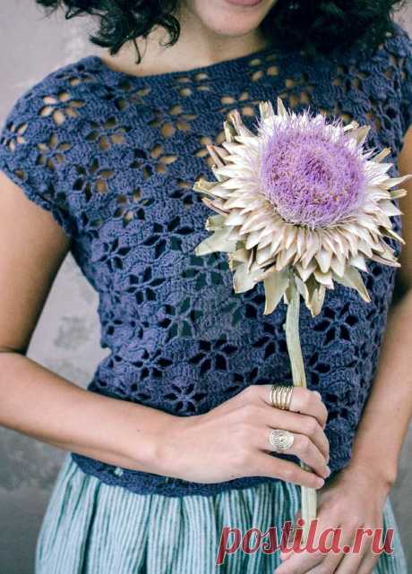 Топ растительным ажуром, крючком. Схема узора. / knittingideas.ru
