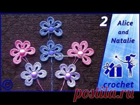 """Пинетки крючком """"Лялины туфельки"""". Часть 2. Цветочный мотив. Alice and Natalie - crochet"""