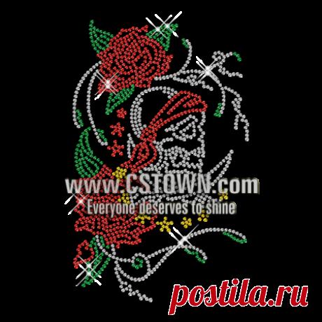 Crystal Skull Tattoo Hortif Rhinestone Motif for t shirt - CSTOWN