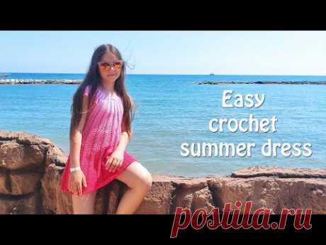 Летнее легкое платье крючком 🎀 Easy crochet summer dress