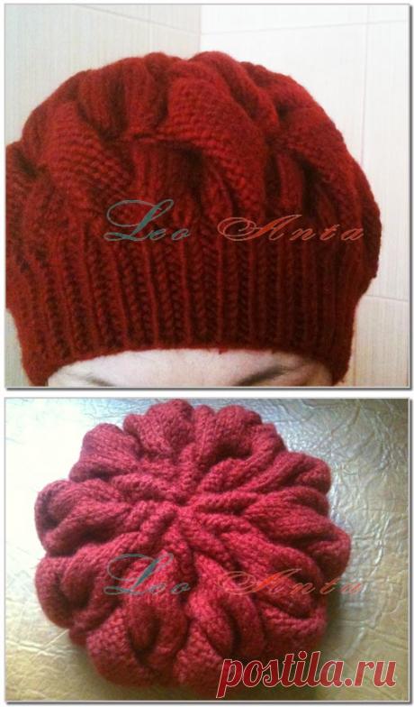 Женская шапка берет спицами с описанием. Схема