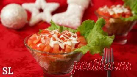 Новогодний салат с красной рыбкой