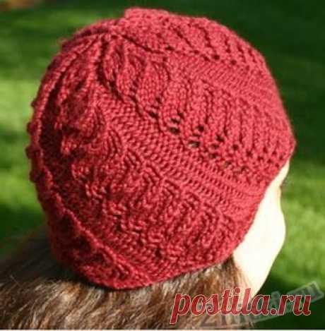 Осенняя шапка с витым узором — Две нитки