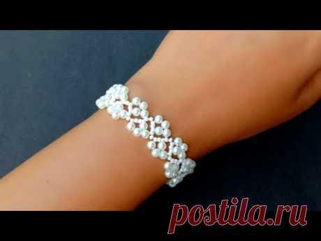 Elegant White Wedding Bracelet//Beaded Bracelet//Jewelry Making// Useful & Easy