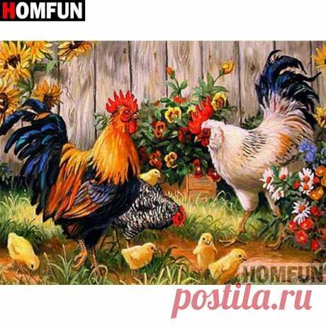 Алмазная вышивка HOMFUN 5D DIY, полный дисплей, алмазная живопись с изображением курицы, животного, семьи, квадратные/круглые стразы, Декор, A27210 | Алмазная роспись, вышивка крестом