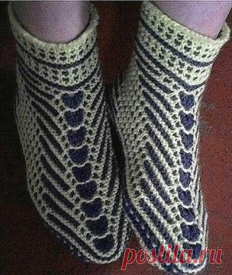 Носки на двух спицах спицами | Узоры вязания спицами