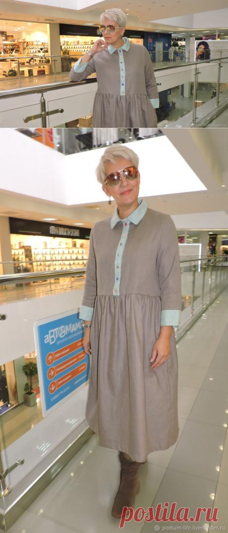 Платье льняное осеннее — купить на Ярмарке Мастеров с доставкой