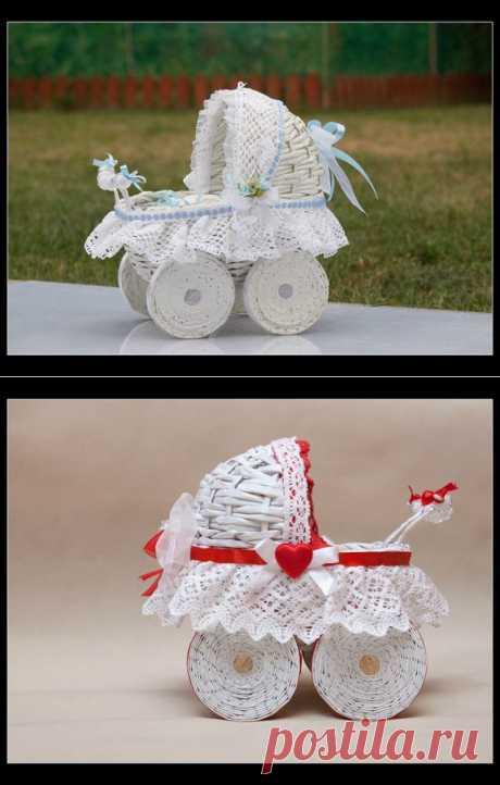 Детская колясочка из газетных трубочек | СДЕЛАЙ САМ!