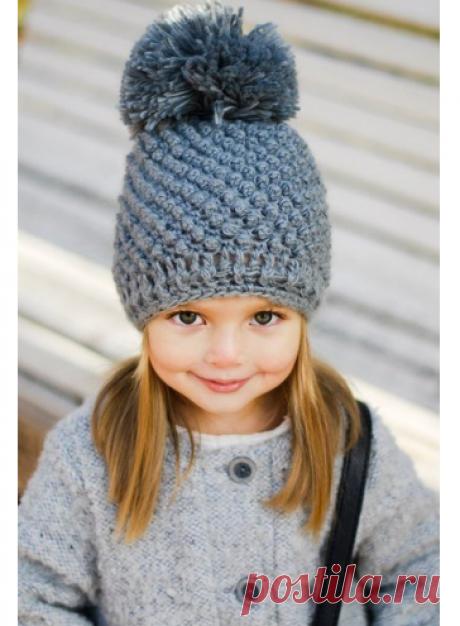 Красивая шапка для девочки спицами схема. Узор шишечки описание | Вязание для всей семьи
