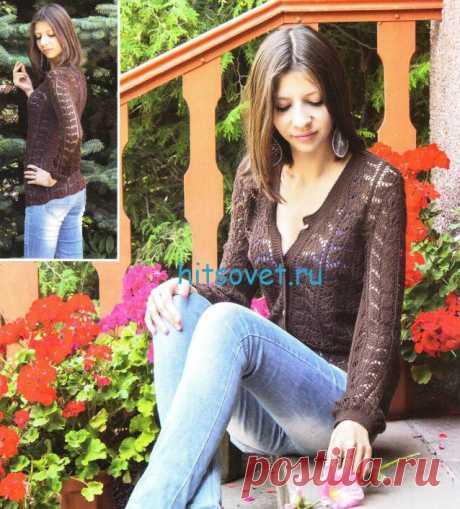 Кофта спицами для женщин - Хитсовет Для вязания кофты спицами Вам потребуется: 400 г пряжи коричневого цвета (100% микрофибра, 350м/100 г).
