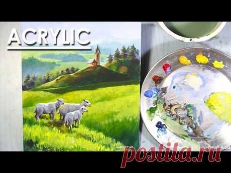 Landscape Painting in Acrylic : Flock of Sheep in Green Grass field | step by step Tutorial