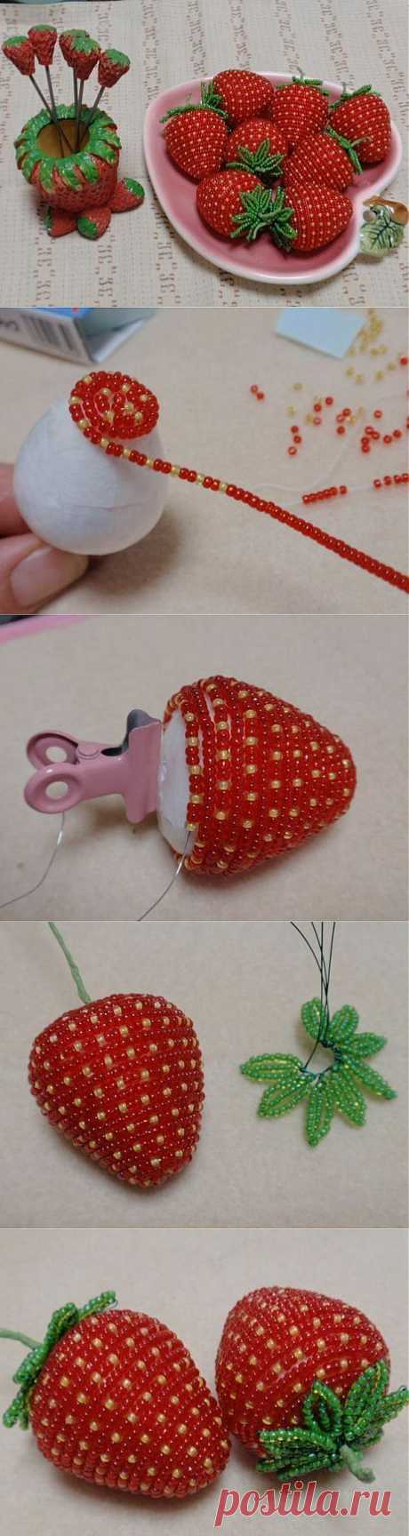 Beaded strawberry. Unique handmade beaded jewelry | Laboratory household