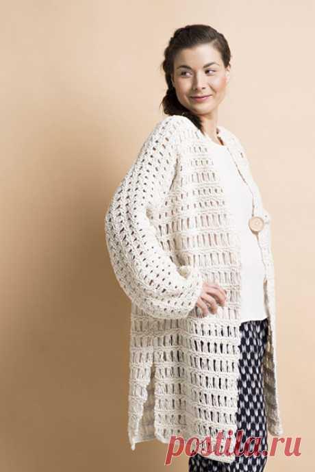 Хлопковый белый кардиган большого размера круговыми спицами – для начинающих и опытных рукодельниц — Пошивчик одежды