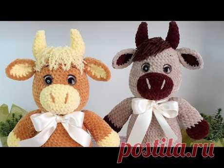 """МК БЫЧОК """"КРОХА"""" КРЮЧКОМ 🐮❤ 3-Я ЧАСТЬ English pattern Bull """"Kroha"""" 🐮❤ 3dr part Under the video"""