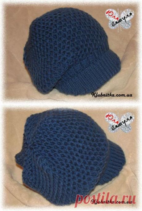 Вязаная объемная кепка спицами патентным узором/ шапка с козырьком спицами » Клуб-Нитка - вязание спицами и не только