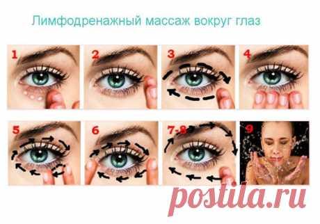 ¡Se libramos de las arrugas! El automasaje limfodrenazhnyy de la esfera alrededor de los ojos — el Régimen de todas partes