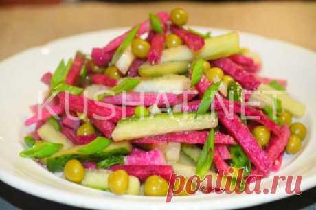 Салат из редьки с огурцом и зеленым горошком. Пошаговый рецепт - Кушать нет