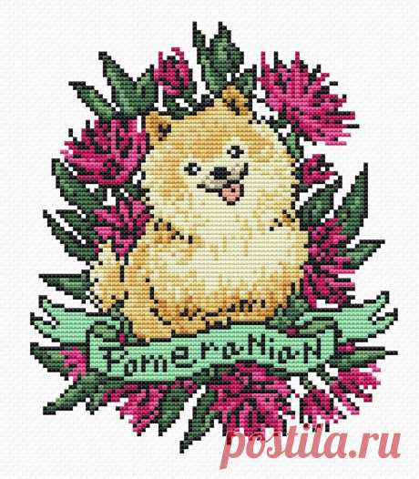 Cross stitch pattern Dog tattoo PDF/ funny Pomeranian | Etsy