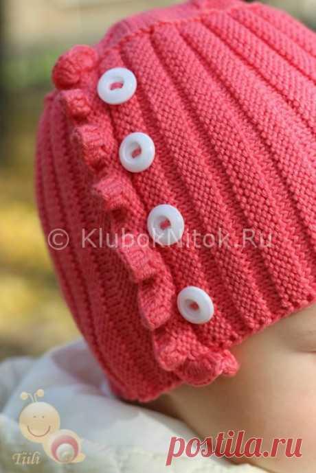 Малиновая шапочка с рюшей | Вязание для девочек | Вязание спицами и крючком. Схемы вязания.