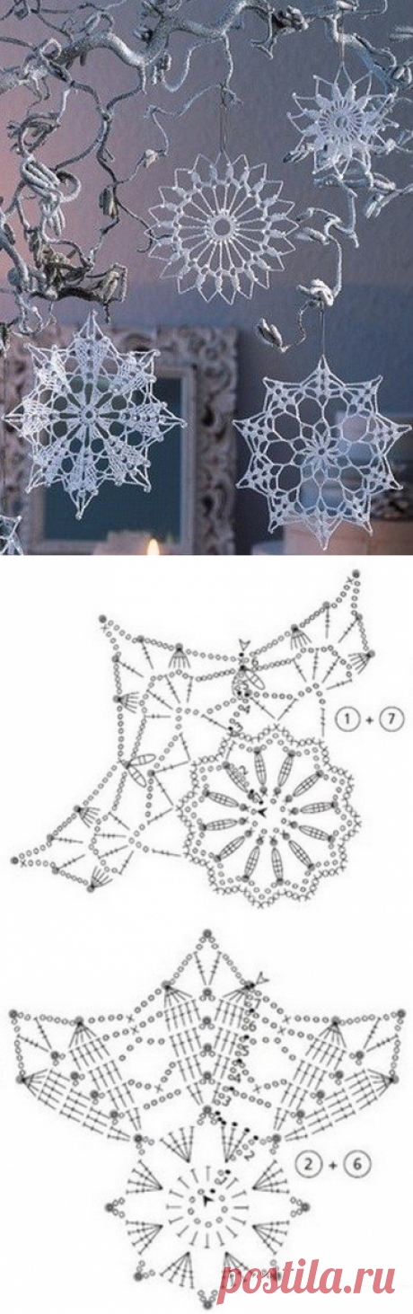 Вязание: снежинки крючком